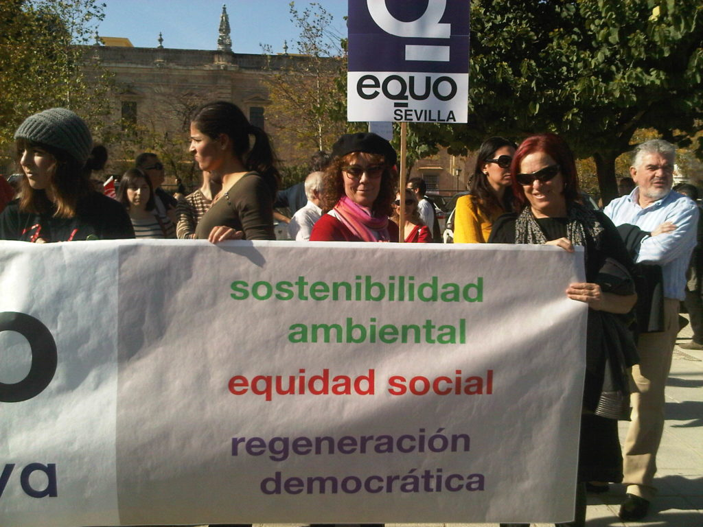 manifestación con participación de verdes equo