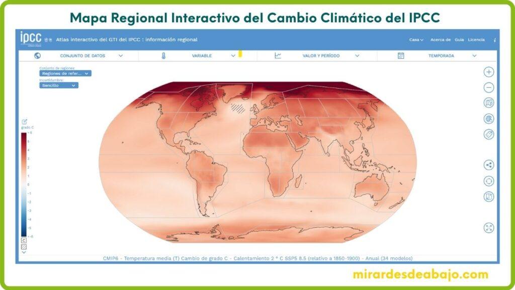Imagen con enlace al Mapa Regional Interactivo del Cambio Climático del IPCC
