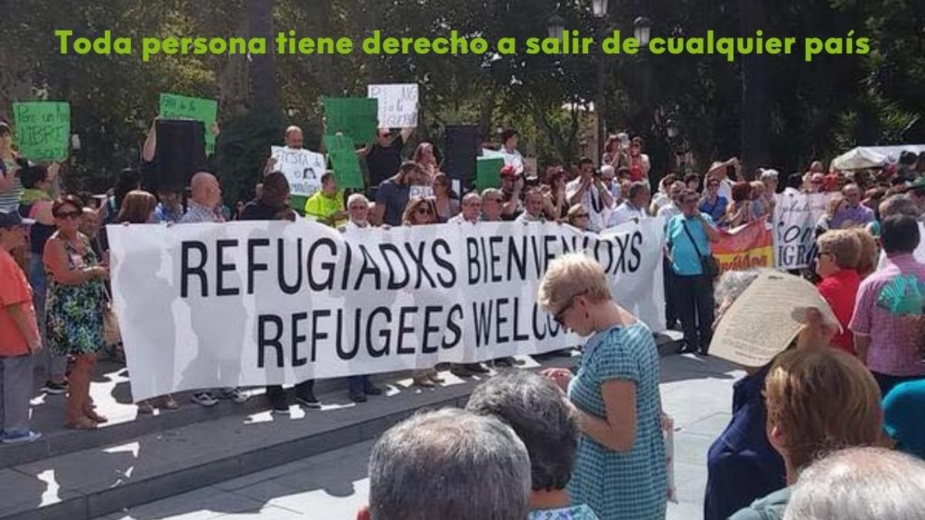 manifestación bienvenida a personas refugiadas