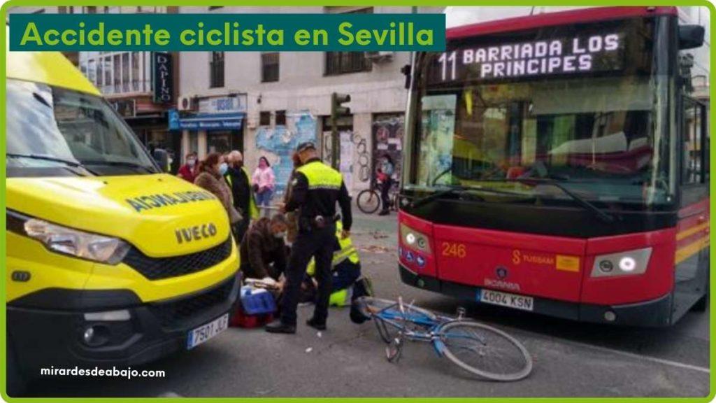 Imagen accidente bus Tussam con ciclista en Sevilla